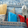 Tools in a pocket  jeans — Stock Photo