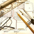 Foto Stock: Engineer drawing