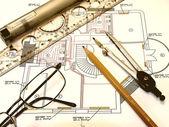 Inżynier rysunek — Zdjęcie stockowe