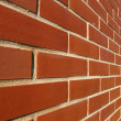 Red Bricked Wall In Perspective — Foto Stock
