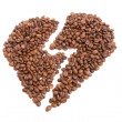 Broken heart made of coffee beans — Stock Photo