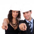 Couple gestures with their fingers — Stock Photo #1486252
