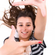 Young woman showing framing hand gesture — Stock Photo