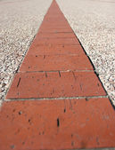 Details of some red bricks in pavement — Stock Photo