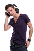 Casual man listening to music — Stock Photo