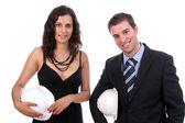 成功夫妇的年轻工程师 — 图库照片