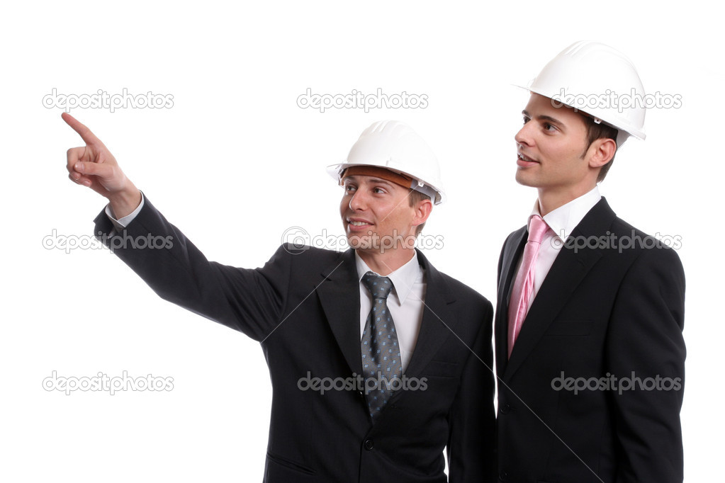 Engineers discussing new project, isolated in white background — Stock Photo #1485401
