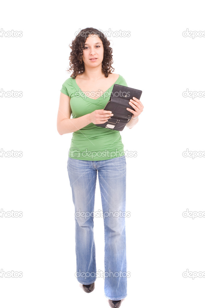 Woman with empty wallet, posing isolated over white — Stock Photo #1489633