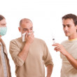 Man infected with h1n1 — Stock Photo
