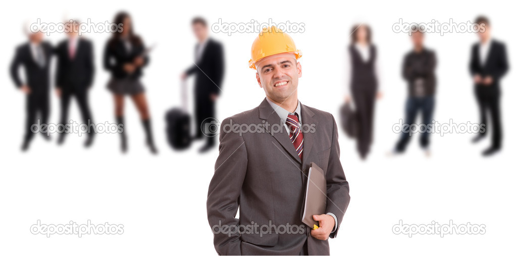 Young engineer posing with some in the back  Stock Photo #1490443
