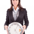 Business woman holding a clock — Stock Photo #1606290