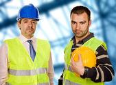 Gurur patron ve daimi işçi arayanlar, kamera — Stok fotoğraf