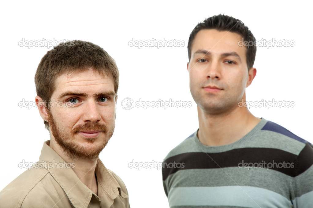 Two young casual men, isolated on white — Stock Photo #1501172