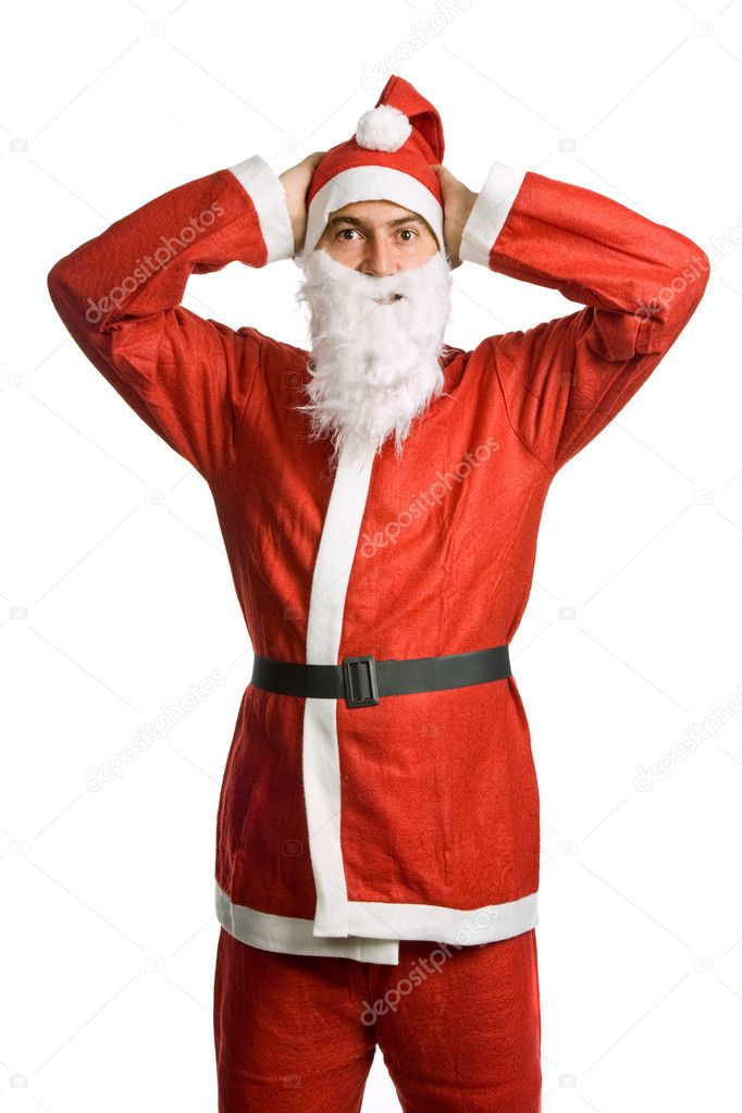 Silly santa claus isolated on white background — Stock Photo #1502250