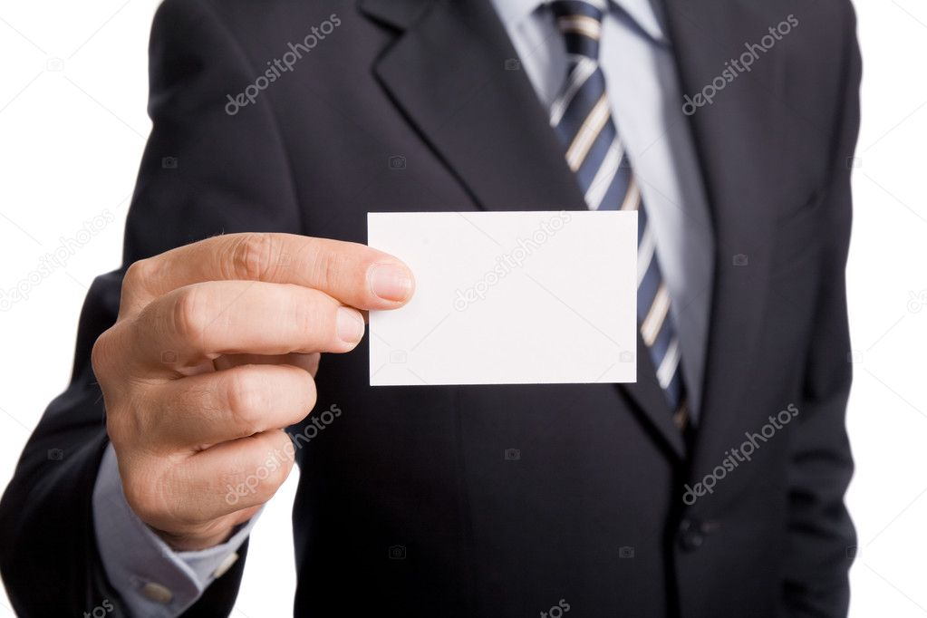 Hand of businessman offering business card on white background — Stock Photo #1502253