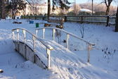 Bridge in Winter Park city of Perm — Stock Photo
