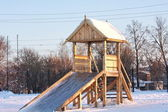 Wooden slide in Winter Park — Stock Photo
