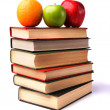 Stock Photo: Book stack with fruits