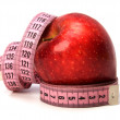 Tape measure wrapped around the apple — 图库照片