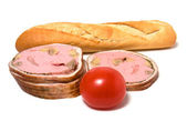 Bread and ham — Stock Photo