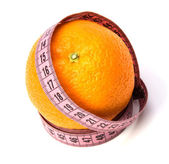 Tape measure wrapped around the orange — Stock Photo