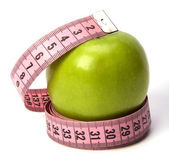 Tape measure around apple — Stock Photo