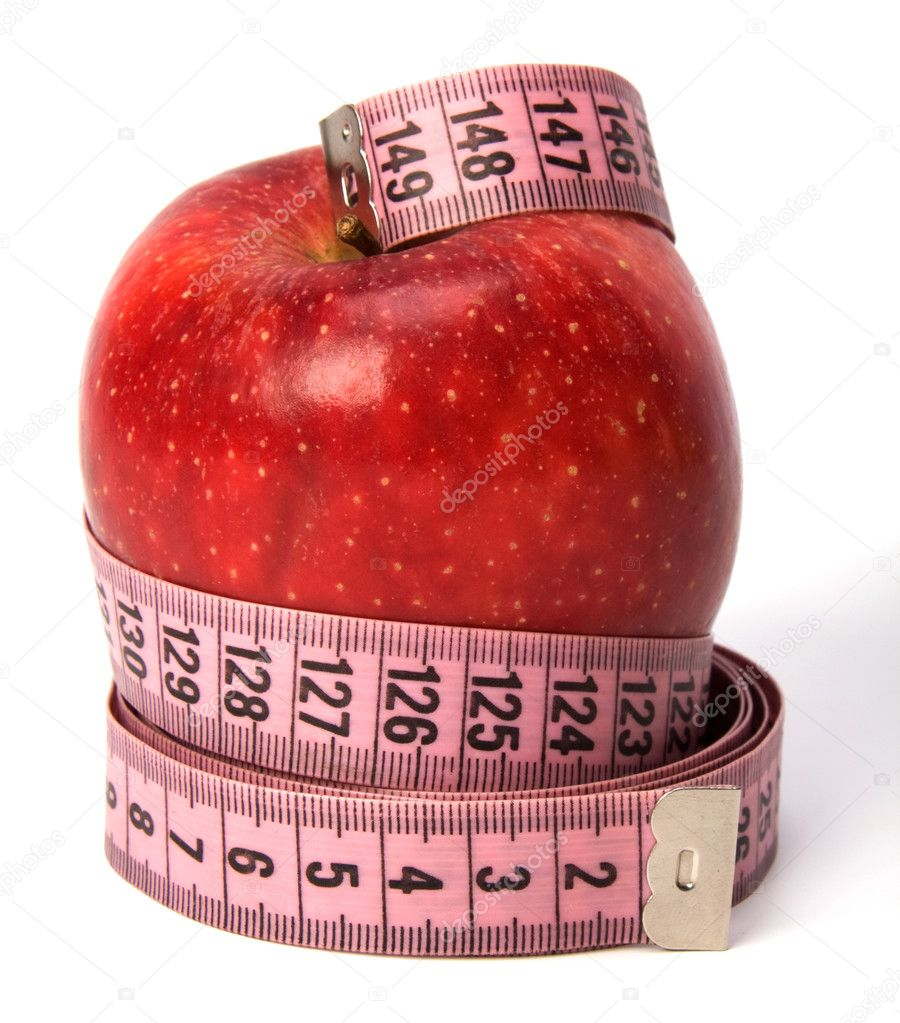 Tape measure wrapped around the apple isolated on white background  Stock Photo #1545624