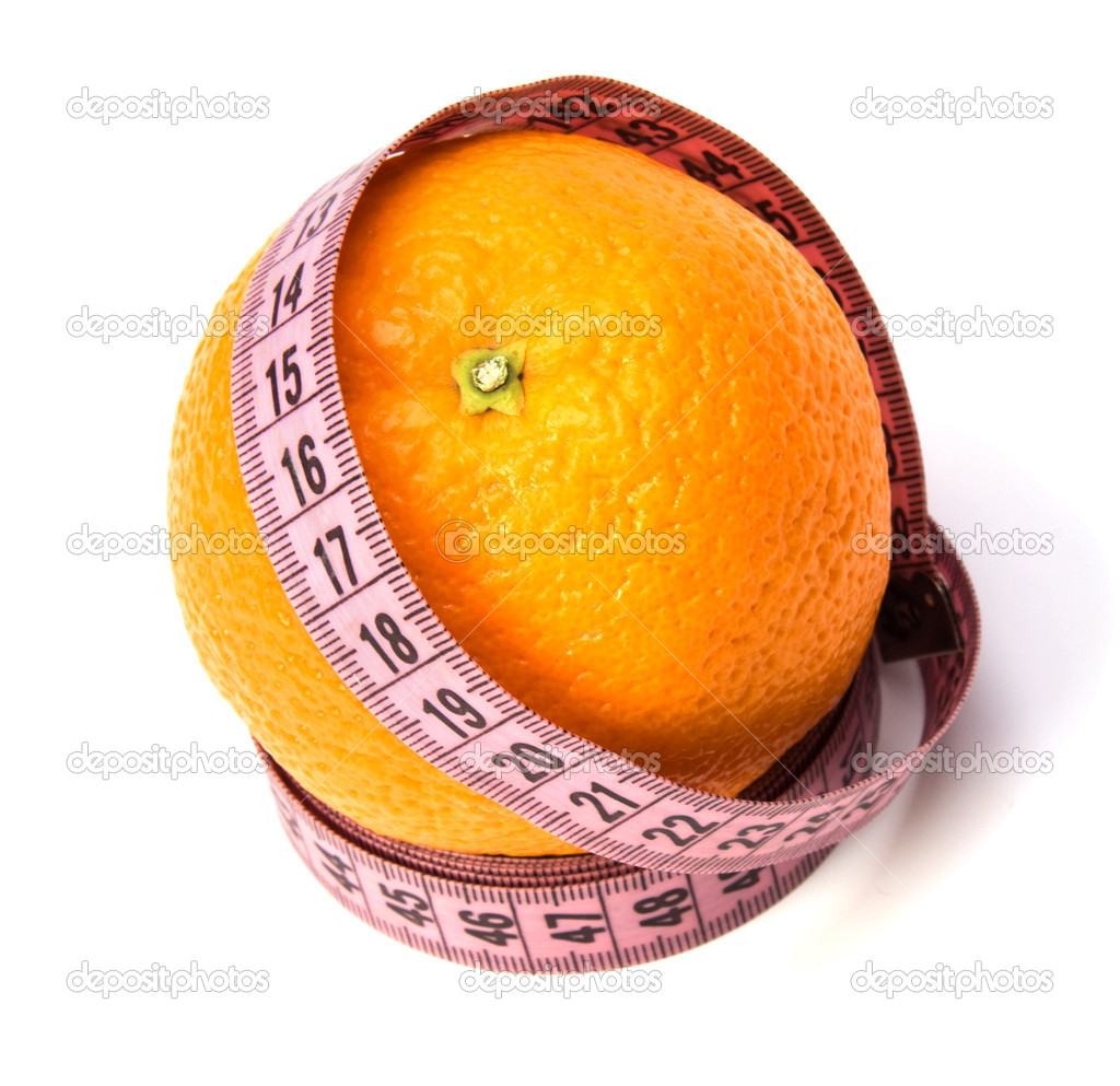 Tape measure wrapped around the orange isolated on white background  Stock Photo #1545662