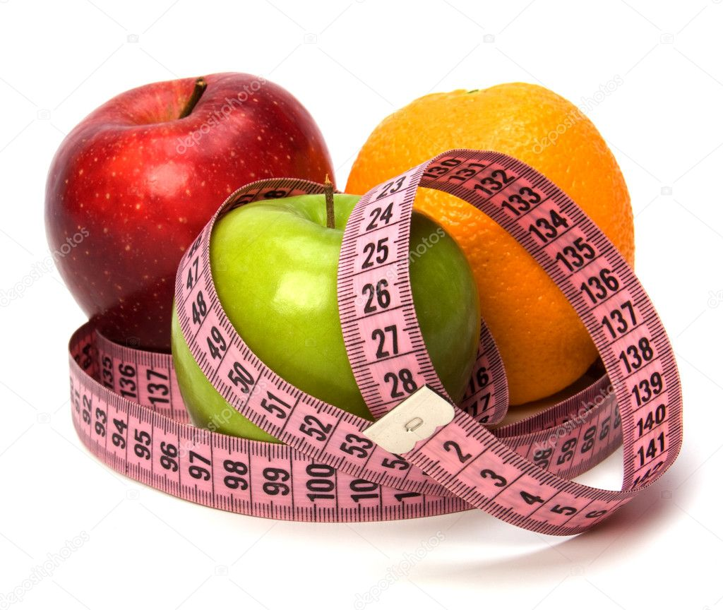 Tape measure wrapped around fruits isolated on white background — Foto de Stock   #1548233