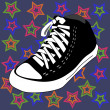 Royalty-Free Stock Vector Image: Vector disco shoes and stars background