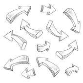 3D arrow sketchy design elements set — Stock Vector