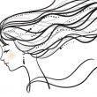 Beautiful woman face silhouette — Stock Vector