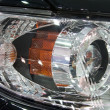 Close-up of a new modern car headlight — Stock Photo