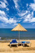 Couch and sunshade at seaside — Stock Photo