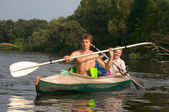 Couple of kayakers — Stock Photo
