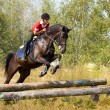 Girl on jumping horse — Stock Photo