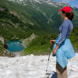 Lake in Caucasus mountains - Stock Photo