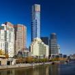 Yarra river quay in Melbourne city — Stock Photo
