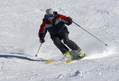 Skier on the snow slope — Stock Photo