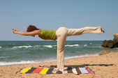 Virabhadrasana yoga pose — Stock Photo