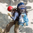 Climber going down — Stock Photo