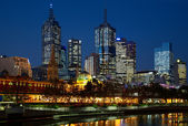 Night photo of Melbourne city — Stockfoto