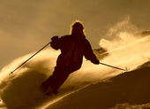 Skier in cloude of powder — Stock Photo