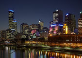 Melbourne CBD at night — Stock Photo