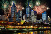 Fireworks over Melbourne city — Stockfoto