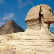 Great Sphinx and pyramid in Egypt — Stock Photo #1532662