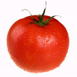 Red tomato with green petiole — Stock Photo