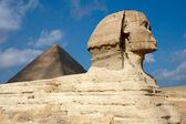 Great Sphinx and pyramid in Egypt — Stockfoto