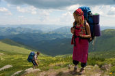 Couple of backpackers — Stock Photo