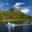 Ship on the sea near of lofoten island — Stock Photo
